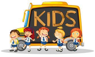 Letterontwerp met veel schoolkinderen vector