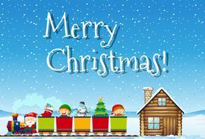 Vrolijk Kerstmissanta en treinconcept