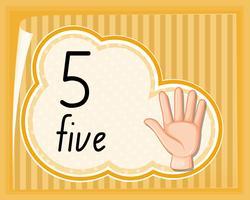 Nummer vijf handgebaar vector