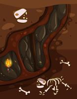Ondergrondse mijnen en fossielen vector