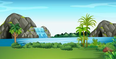 Scène met waterval en veld