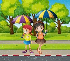 Twee meisjes met paraplu in de regen