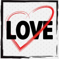 Lettertype ontwerp voor liefde met rood hart