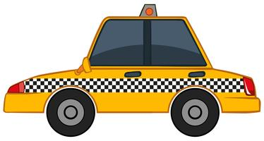 Gele taxi op witte achtergrond
