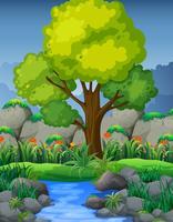 Aardscène met rivier in bos vector