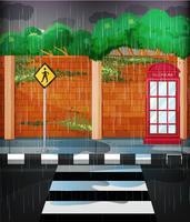 Wegscène met zware regen