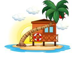 Houten hut op het eiland vector