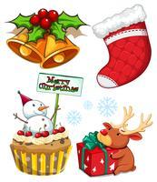 Kerstset met sneeuwpop en bel vector