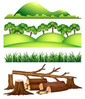 Een set met landschapselementen vector