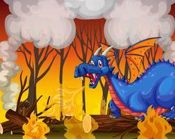 Draak die het bos begraaft
