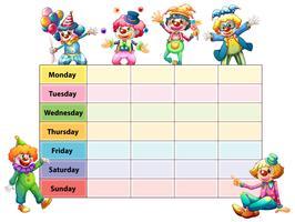 Tijdschema sjabloon met dagen van de week en clowns