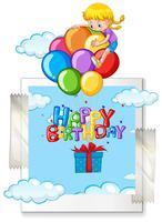 Gelukkige verjaardagskaart met meisje op ballonnen