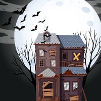 Spookhuis op volle maan nacht