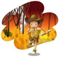 bosverkenner die van het wildvuur vlucht
