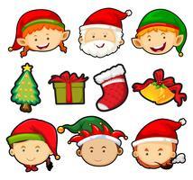 Kerstthema met mensen en ornamenten vector