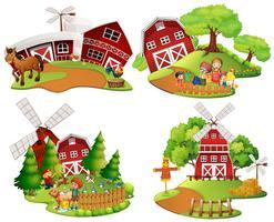 Vier scènes van het boerenerf met mensen en dieren