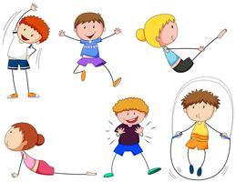 Jongens en meisjes die oefeningen doen vector