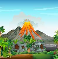 Scène met vulkaan en grotwoning