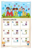 Math-werkblad voor aftrekken binnen vijftig vector
