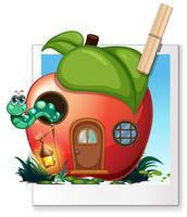 Worm leven in een appelhuis vector