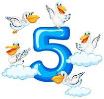 Vijf pelikanen en nummer vijf