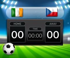 ierland versus Tsjechië scorebord