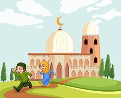 Moslimkinderen die de moskee verlaten