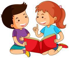 Jongen en meisje verhalenboek lezen vector