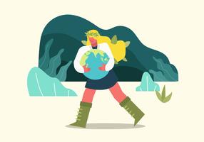 Mother Earth Day vectorkarakterillustratie