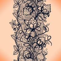 Vector kant naadloze patroon decoratieve aardbei, bladeren, verweven met stroperig van lijnen.