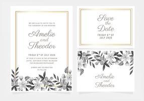 Vector Hand getekende bloemen bruiloft uitnodiging