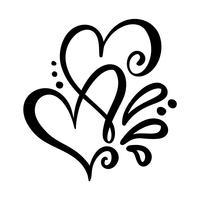Twee minnaar kalligrafische harten vector
