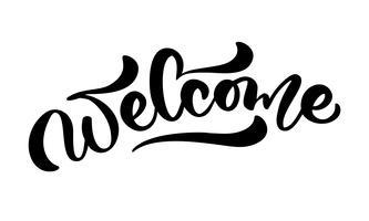"""Hand getrokken kalligrafie belettering tekst """"Welkom"""" vector"""