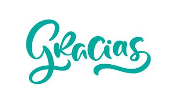 """Gracias"" (""Thank you"" in het Spaans) Moderne penseelkalligrafie vector"