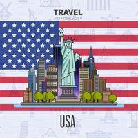 Amerikaanse oriëntatiepunten, architectuur, op de achtergrond van de vlag.