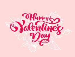 """Kalligrafie zin """"Happy Valentine's Day"""" met bloeit & harten vector"""