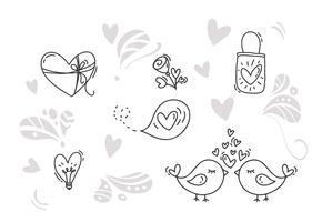 Vector monoline Valentijnsdag Hand getrokken elementen. Fijne Valentijnsdag. Vakantie schets doodle Ontwerp kaart met hart. Geïsoleerde illustratie decor voor web, bruiloft en print