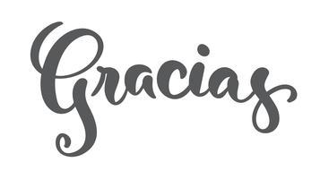 """""""Gracias"""" (""""Bedankt"""" in het Spaans) moderne penseelkalligrafie vector"""