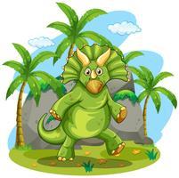 Groene dinosaurus die zich op twee voet bevindt