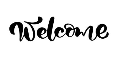 Vector hand getekende kalligrafie belettering tekst Welkom. Elegant modern met de hand geschreven citaathuwelijk. Inkt illustratie. Typografie poster op witte achtergrond. Voor kaarten, uitnodigingen, afdrukken