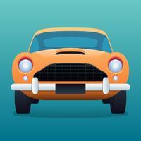Retro gele auto Vintage illustratie vector