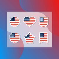 Vlakke moderne Amerikaanse vlag ingesteld collectie vector