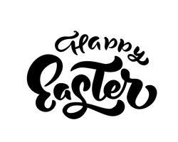 Vector gelukkige Pasen-tekst Hand getrokken kalligrafie en borstelpen het geïsoleerde van letters voorzien. ontwerp voor de kaart van de vakantiegroet en uitnodiging van de gelukkige Pasen-dag