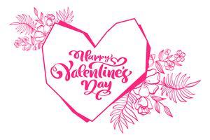 Kalligrafie zin Happy Valentines Day met hart. Vector Hand getrokken belettering. Vakantie bloeien schets doodle Ontwerp valentijn kaart. liefdes decor voor web, bruiloft en print. Geïsoleerde illustratie