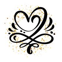 Hart liefde teken Vector illustratie. Romantisch symbool gekoppeld, join, passie en huwelijk. Ontwerp platte element van dag van de Valentijnskaart. Sjabloon voor t-shirt, kaart, poster