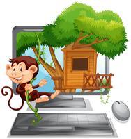 Aap die op de boomhut op het computerscherm beklimmen vector