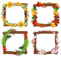 Een set van bloem houten frame vector
