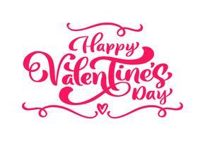 Kalligrafie zin Happy Valentine's Day met bloeien en bloem. Vector Valentijnsdag Hand getrokken belettering. Hart vakantie schets doodle Ontwerp valentijn kaart achtergrond. liefdes decor voor web, bruiloft en print. Geïsoleerde illustratie
