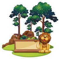 Registreer sjabloon met wilde leeuw in het bos vector