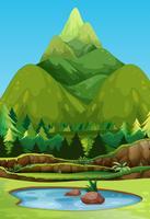 Een prachtige groene berg vector